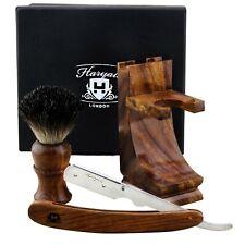 Groomsmen Gift Shaving Kit Old Fashioned Wooden Handle Handmade HARYALI LONDON