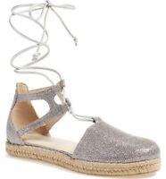 Stuart Weitzman NIB Walk My Way Silver Espadrille Sandals Size 8.5 B Retail $355