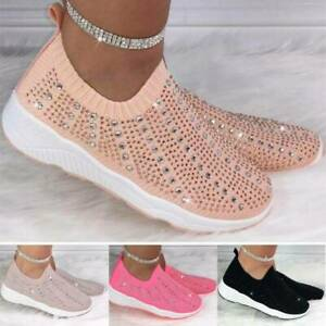 Womens Slip On Diamante Studded Trainers Sports Runing Sneakers Fashion Shoes