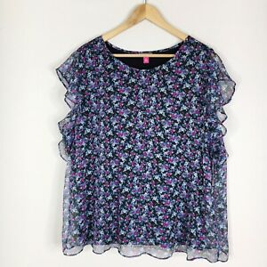 Vince Camuto Womens Size 2X Blue Floral Flutter Sleeve Blouse New NWT