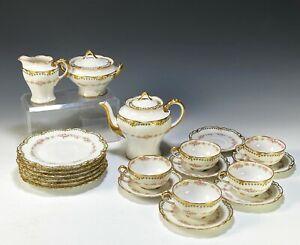Antique Haviland Limoges Pink Roses Tea Set Teapot Cups Saucers