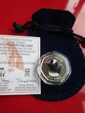2018 Falkland Island Gentoo Penguin 50p Coin Coloured BUNC COA, Pouch, Sealed