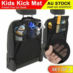 2pcs Kids Kick Mat Car Seat Back Protector Two Storages Pockets Tough Durable