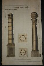 Rare Ancient Antique Columns 1738 Jon. Gottfr. Hand Laid Paper With A Watermark
