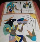 Vintage Egyptian cloth linen cotton hand sewn art (2)