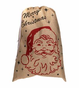 Merry Christmas Jutesack 49x68 cm Weihnachten Nikolausbeutel Geschenk Tasche