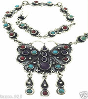 VINTAGE DESIGN TAXCO MEXICAN STERLING SILVER AMETHYST BUTTERFLY NECKLACE MEXICO