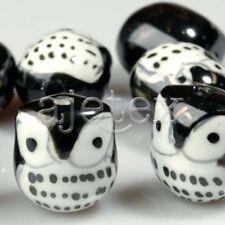 10 Pcs Black Porcelain Owl Beads 17mm Pb0007