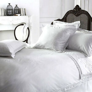"""Luxury White Vintage Shabby Chic Lace """"YVETTE"""" 100% Cotton Bedding"""