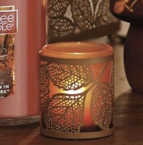 YANKEE CANDLE AMBER LEAVES COPPER LEAF TEA LIGHT HOLDERS SLEEVE GLASS METAL