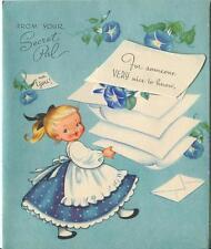 VINTAGE BLONDE GIRL PONYTAIL MORNING GLORY FLOWER VINES SECRET PAL CARD PRINT