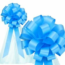 "6 Sky Blue 8"" Pull Bows With Tulle Tails Wedding Church Pew Chair Gift Decor"