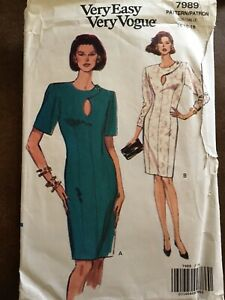 90s Very Easy Vogue Fitted Dress Pattern 7989 - Sz 14-26-18 Cut