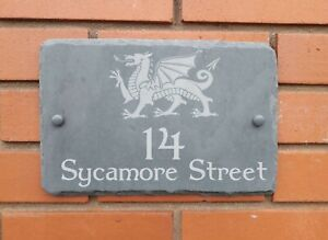 slate house sign with welsh dragon rustic hand cut edges  smooth surface