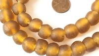Ghana Round Ochre Color handmade Recycled glass African trade beads