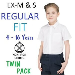 Ex M&S Boys Regular Fit School Shirt (PACK OF 2) White Short Sleeve Ages 3-16