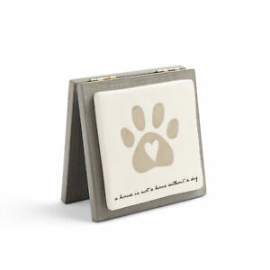 Home Dog Glossy White 5 x 5 Wood and Ceramic Decorative Forever Card Sign