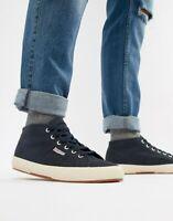 SUPERGA 2754 COTU MIDTOP Classic Canvas Navy Blue Trainer Shoes | UK 7.5 EU 41.5