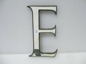 """Victoria Brass Shop Letter Initial Sign Plaque Letter """"E"""" Antique Enamel Old 8""""H"""