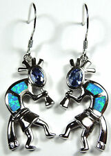Tanzanite and Blue Fire Opal Inlay 925 Sterling Silver Kokopelli Dangle Earrings