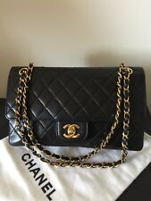 Authentic Vintage Classic Chanel Black Quilted Double Flap Bag
