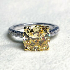 2.80Ct Yellow Cushion Diamond Engagement Wedding Ring Solid 925 Sterling Silver