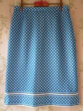 Rare! Vtg 1950s Polka Dot Pinup Rockabilly Fitted Wiggle Pencil Skirt Blue White