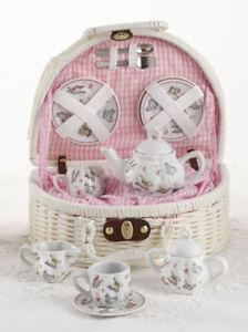 Delton Children's Porcelain Tea Set for 2 in Wicker Basket PINK BUTTERFLY 8097-6