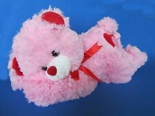 "Lovely 17"" Lay Down Pink and Red Plush Teddy Bear with Hearts (Mr. Sales)"