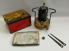 Vtg Monitor Brass Touring Portable Picnic Camping Stove Burner Original Tin Box