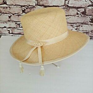 Gladys Tamez Millinery Straw Fedora Panama Style Hat Size Medium Fast Shipping