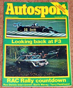 Autosport 19/11/81* FORMULA 3 REVIEW - LAUDA'S COMEBACK - TERRY PANKHURST