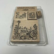 Farming Tractor Wood Rubber Stamp Up Harvest Farm Life Related Chicken scrapbook
