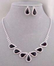 Black Tear Crystal Rhinestone Necklace Set Silver Fashion Jewelry NEW