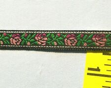 """Jacquard Ribbon Embroidered Floral Ribbon 1/2"""" Black Pink Green White 5 yd #Rb17"""