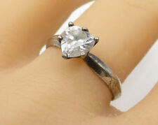 925 Silver - Vintage Faceted White Topaz Love Heart Solitaire Ring Sz 10 - R2780