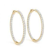 4.25 Carat Clean G SI1 Diamond Round Hoop Huggie Earrings 14k Yellow Gold Classy