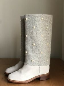 Authentic Chanel Beige Wool Suede Leather Pearl Boots Size EU 41,5 US 11,5