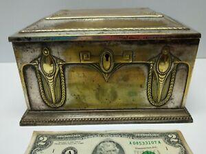 Antique large art nouveau jugendstil metal WMF OX I/O jewlery box case German