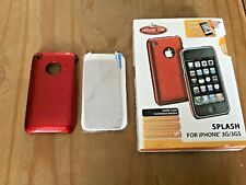 SPLASH RED HARD PLASTIC BACK CASE COVER & SCREEN PROTECTOR - APPLE iPHONE 3 3GS