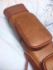 Vincitore Brown Reptile Print Genuine Leather Pool Cue Case 3 Butt 6 Shaft 3x6