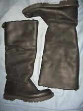 WOMENS 6 M EDDIE BAUER BLACK LEATHER FLEECE LINED TALL KNEE HIGH RIDING BOOTS