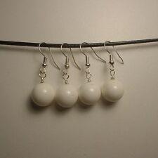 2 Pairs White Jade beads silver earrings ( E130 )