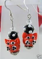 Artisan Black White Red Glass Cat Earrings CAT RESCUE