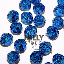 Dark Sapphire 8mm Faceted Round Beads 500pc made in USA