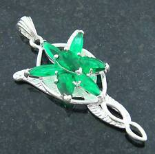 Arwen Evenstar silver plated PENDANT Summer Greeting green stone