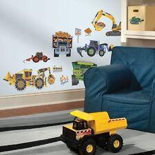 New HEAVY CONSTRUCTION VEHICLES WALL DECALS Dozers & Trucks Stickers Boys Decor