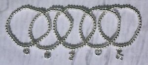HANDMADE SILVER PLATED STACKING BEAD STRETCH BRACELET NEW BABY THEME (079)