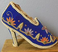 Blue Velvet Collectible Shoe Embroidery Jewels High Heel New Tags