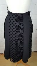 Gorgeous Marks and Spencer Per Una Velvet Devore Skirt Black Size 12r BNWOT